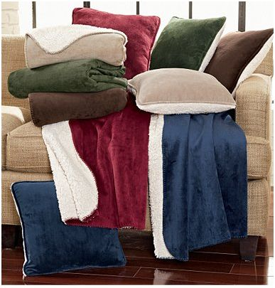 Soft Sherpa Throw Blanket and Pillows